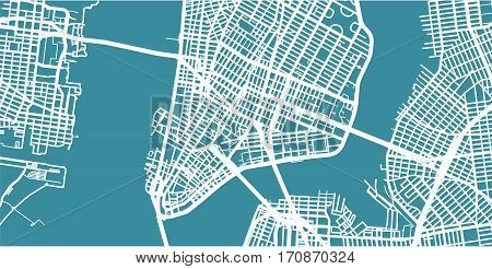 Detailed vector map of NYC, New York, scale 1:30 000, USA