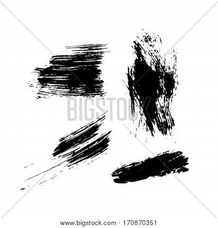 Set of hand drawn black ink textures and brush strokes. Freehand drawing. Vector collection for your design.
