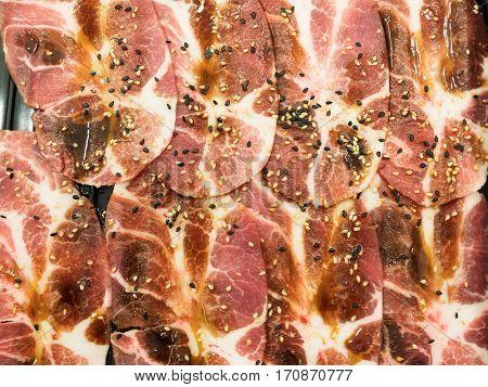 Raw Pork Slice For Barbecue, Japanese Food, Yakiniku