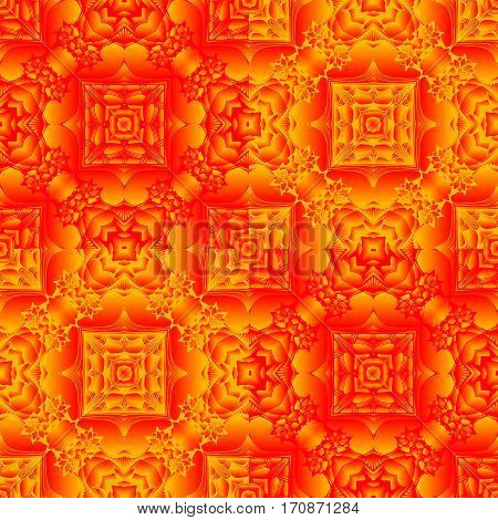 Seamless pattern with summer orange kaleidoscope. Fabrics, textures, wrapping paper