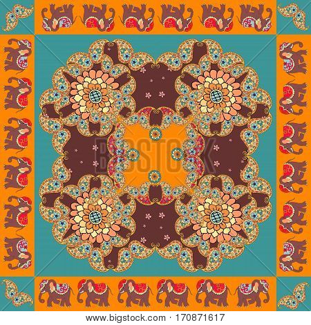 India. Ethnic bandana print with ornament border. Silk neck scarf with beautiful flowers paisley and elephants. Summer kerchief square pattern design style for print on fabric.