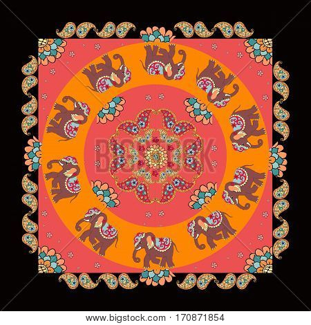India. Ethnic bandana print with beautiful flowers, paisley and elephants. Summer kerchief square pattern design style for print on fabric. Mandala.