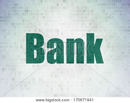 Banking concept: Painted green word Bank on Digital Data Paper background