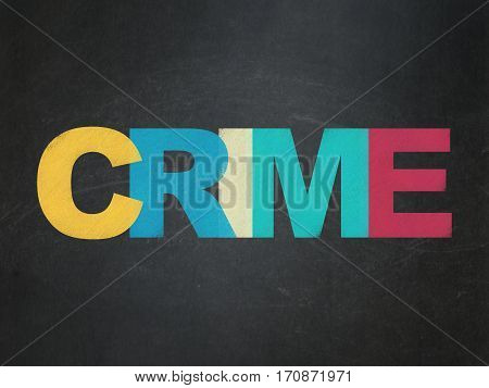 Security concept: Painted multicolor text Crime on School board background, School Board