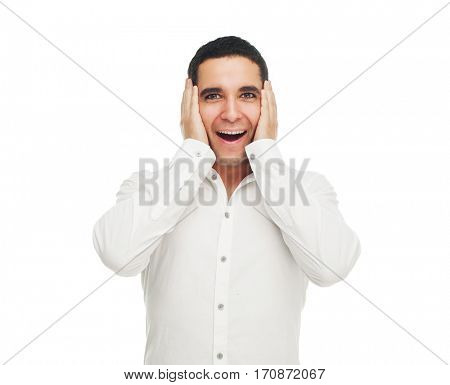 surprised young man against white background