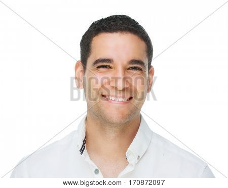 young handsome smiling man, isolated against white