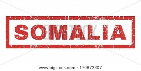 Somalia text rubber seal stamp watermark. Tag inside rectangular banner with grunge design and unclean texture. Horizontal vector red ink sticker on a white background.