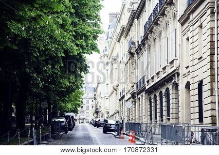 houses on french streets of Paris. citylife concept postcard close up