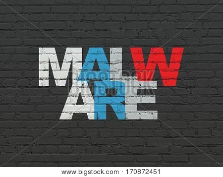 Privacy concept: Painted multicolor text Malware on Black Brick wall background