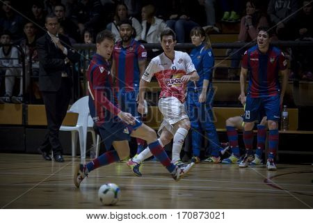 VALENCIA, SPAIN - FEBRUARY 7: (9) Bebe during Spanish King Cup match between Levante UD FS and Elpozo Murcia at Cabanyal Stadium on February 8, 2017 in Valencia, Spain