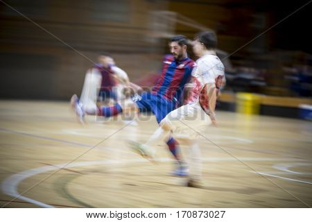 VALENCIA, SPAIN - FEBRUARY 7: (L) Buendia, (R) Bebe during Spanish King Cup match between Levante UD FS and Elpozo Murcia at Cabanyal Stadium on February 8, 2017 in Valencia, Spain