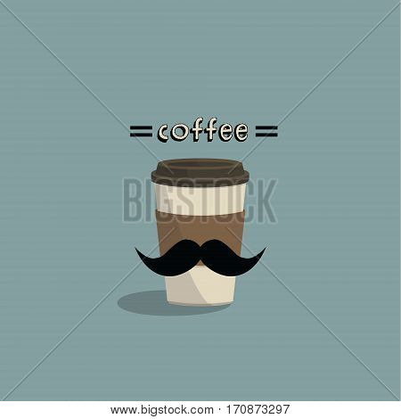 Hipster coffee to go. Coffee cup with mustache on colorful background