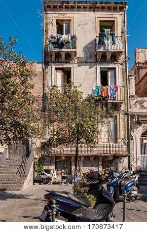 Facade Of A Residential Building In Catania, Sicily
