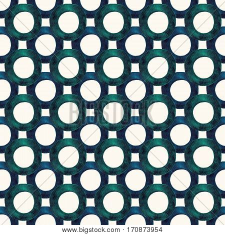 Handmade simple watercolor seamless pattern with circles