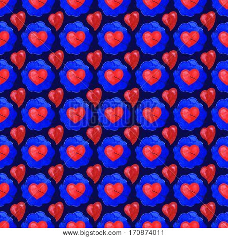 Handmade watercolor Valentine's seamless pattern with hearts