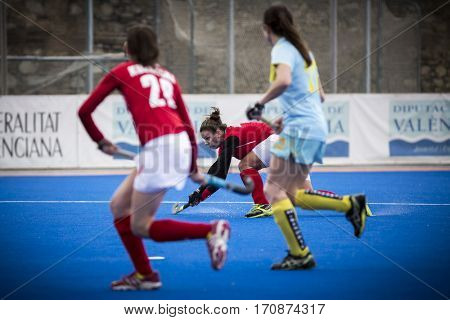 VALENCIA, SPAIN - FEBRUARY 11: Paula Slawinska during Hockey World League Round 2 semifinal match between Ukraine and Poland at Betero Stadium on February 11, 2017 in Valencia, Spain