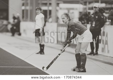 VALENCIA, SPAIN - FEBRUARY 11: Monika Polewczak during Hockey World League Round 2 semifinal match between Ukraine and Poland at Betero Stadium on February 11, 2017 in Valencia, Spain