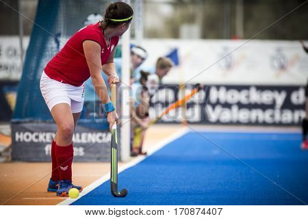 VALENCIA, SPAIN - FEBRUARY 11: Magdalena Zagajska during Hockey World League Round 2 semifinal match between Ukraine and Poland at Betero Stadium on February 11, 2017 in Valencia, Spain