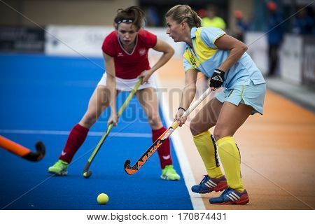 VALENCIA, SPAIN - FEBRUARY 11: Marta Kucharska during Hockey World League Round 2 semifinal match between Ukraine and Poland at Betero Stadium on February 11, 2017 in Valencia, Spain