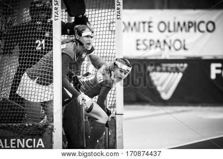 VALENCIA, SPAIN - FEBRUARY 11: Polish players during Hockey World League Round 2 semifinal match between Ukraine and Poland at Betero Stadium on February 11, 2017 in Valencia, Spain