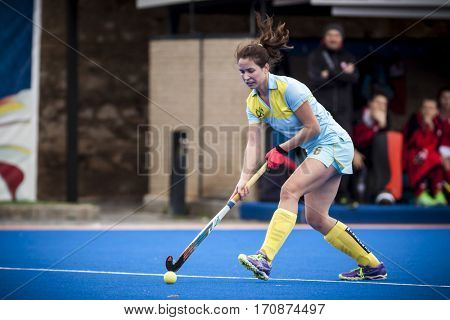 VALENCIA, SPAIN - FEBRUARY 11: Yevheniya Moroz during Hockey World League Round 2 semifinal match between Ukraine and Poland at Betero Stadium on February 11, 2017 in Valencia, Spain