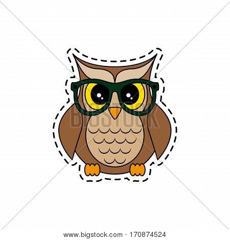Owl with glasses. Fashion patch badges. Sticker, pin, patch in cartoon 80s-90s comic style. Vector illustration isolated on white background.