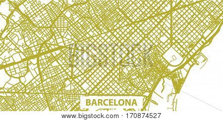 Detailed vector map of Barcelona in gold with title scale 1:30 000, Catalonia