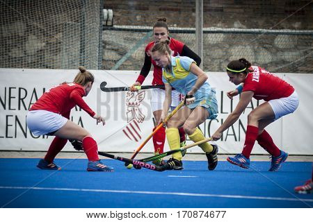 VALENCIA, SPAIN - FEBRUARY 11: Kateryna Samakhodchenko during Hockey World League Round 2 semifinal match between Ukraine and Poland at Betero Stadium on February 11, 2017 in Valencia, Spain
