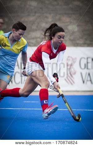 VALENCIA, SPAIN - FEBRUARY 11: Marlena Rybacha with ball during Hockey World League Round 2 semifinal match between Ukraine and Poland at Betero Stadium on February 11, 2017 in Valencia, Spain