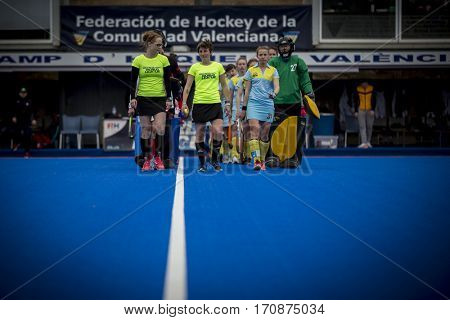 VALENCIA, SPAIN - FEBRUARY 11: All players during Hockey World League Round 2 semifinal match between Ukraine and Poland at Betero Stadium on February 11, 2017 in Valencia, Spain