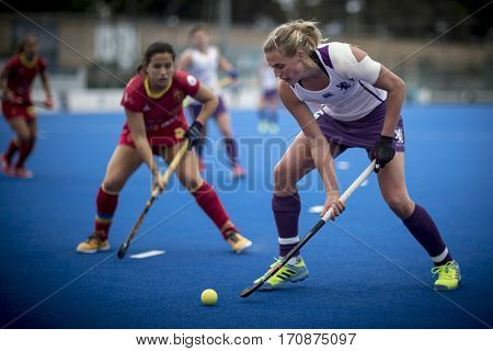 VALENCIA, SPAIN - FEBRUARY 11: Merchant with ball during Hockey World League Round 2 semifinal match between Spain and Scotland at Betero Stadium on February 11, 2017 in Valencia, Spain