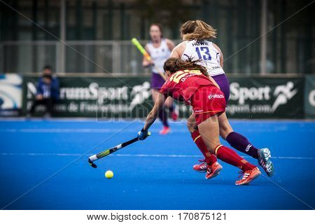 VALENCIA, SPAIN - FEBRUARY 11: Heather Howie during Hockey World League Round 2 semifinal match between Spain and Scotland at Betero Stadium on February 11, 2017 in Valencia, Spain