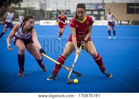 VALENCIA, SPAIN - FEBRUARY 11: (R) Iglesias (L) Ward during Hockey World League Round 2 semifinal match between Spain and Scotland at Betero Stadium on February 11, 2017 in Valencia, Spain
