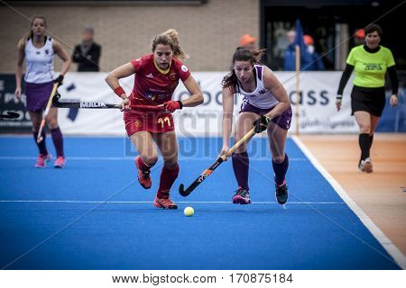 VALENCIA, SPAIN - FEBRUARY 11: (L) Cristina Guinea during Hockey World League Round 2 semifinal match between Spain and Scotland at Betero Stadium on February 11, 2017 in Valencia, Spain