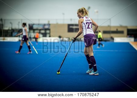VALENCIA, SPAIN - FEBRUARY 11: Fiona Burnet during Hockey World League Round 2 semifinal match between Spain and Scotland at Betero Stadium on February 11, 2017 in Valencia, Spain