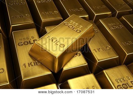 3d rendering of gold bars with a single bar ontop