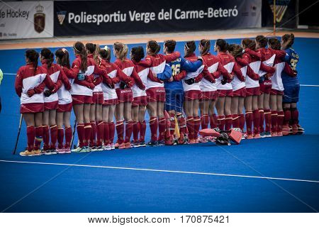 VALENCIA, SPAIN - FEBRUARY 11: Spanish team during Hockey World League Round 2 semifinal match between Spain and Scotland at Betero Stadium on February 11, 2017 in Valencia, Spain