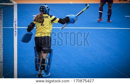 VALENCIA, SPAIN - FEBRUARY 11: Nicola Cochrane during Hockey World League Round 2 semifinal match between Spain and Scotland at Betero Stadium on February 11, 2017 in Valencia, Spain