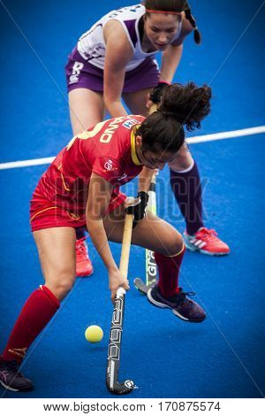 VALENCIA, SPAIN - FEBRUARY 11: Carmen Cano with ball during Hockey World League Round 2 semifinal match between Spain and Scotland at Betero Stadium on February 11, 2017 in Valencia, Spain