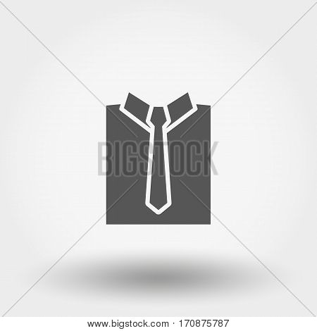 Shirt with nectie. Silhouette. Icon for web and mobile application. Vector illustration on a white background. Flat design style.