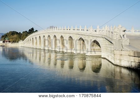Image of seventeen hole bridge in the imperial garden at the Summer Palace Beijing