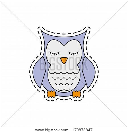 Sleeping owl. Fashion patch badges. Sticker, pin, patch in cartoon 80s-90s comic style. Vector illustration isolated on white background.