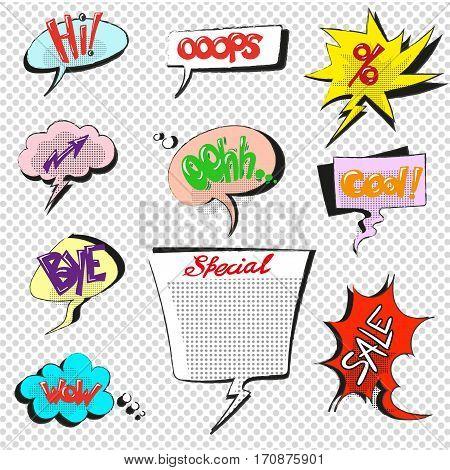 Comic pop art speech bubbles illustration vector hand drawn dot