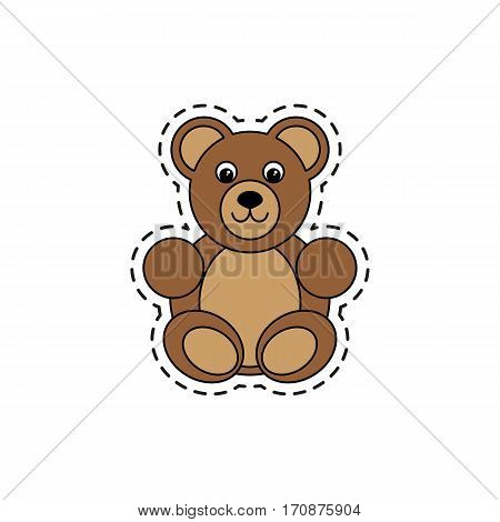 Bear. Fashion patch badges. Sticker, pin, patch in cartoon 80s-90s comic style. Vector illustration isolated on white background.