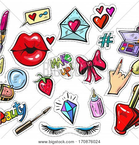 Beautiful girlish pattern with fashion elements pop art stickers vector