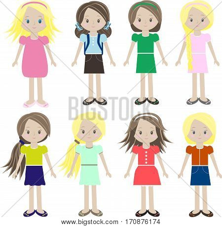 Vector Icons Of Small Children In Colorful Clothes
