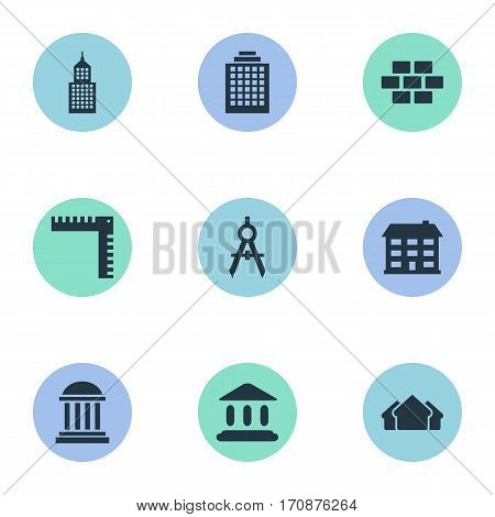 Set Of 9 Simple Architecture Icons. Can Be Found Such Elements As Booth, Academy, Engineer Tool And Other.