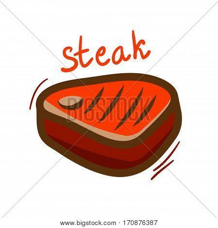 Tasty steak icon isolated on white background.