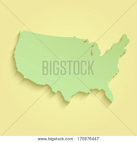 USA map yellow green raster template american