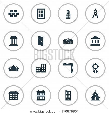 Set Of 16 Simple Construction Icons. Can Be Found Such Elements As Booth, Popish, Shelter And Other.